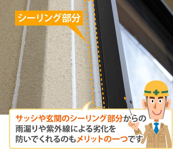 庇はシーリング部分からの雨漏りや紫外線の劣化を防いでくれる