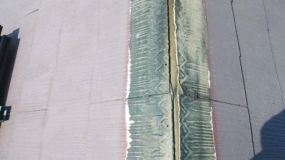 屋根の棟部の貫板交換工事施工前の様子