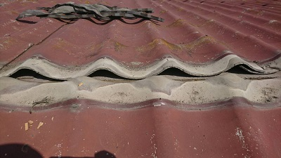 一度棟を撤去した屋根(アップ)