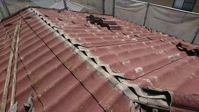 一度棟を撤去した屋根