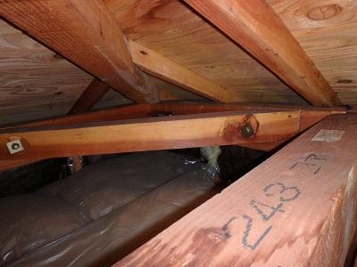 雨漏れしてしまっている屋根裏