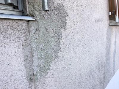 コケによって剥離してしまっている外壁