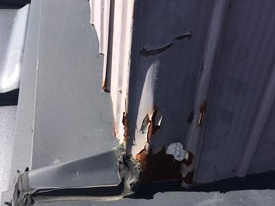 錆びたトタン壁のメッキが剝がれた現地調査の様子