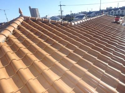 工事前の洋屋根の地瓦の様子