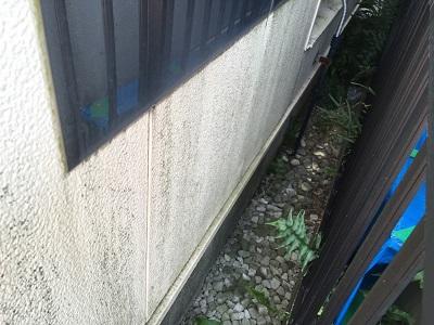 隣の家との間の狭い空間にコケが発生している状態