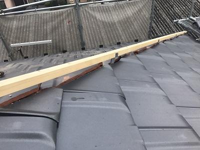地瓦を葺き終えたので垂木を乗せます