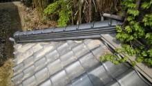 下屋根の隅棟の修繕工事完工の様子