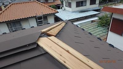 棟包み板金の修繕の現地調査の様子