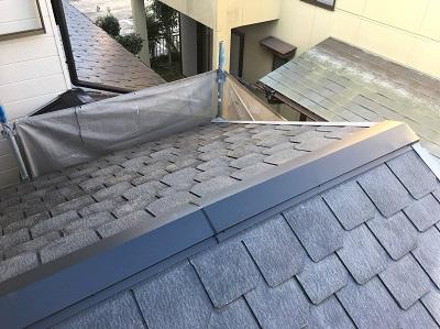 台風被害による板金飛散の工事完工の様子