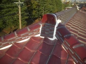 漆喰工事後の屋根