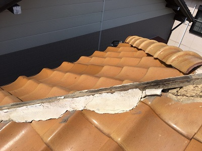 棟をめくったところ 垂木の劣化
