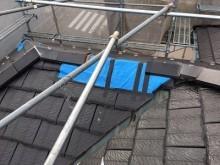 台風被害による屋根の棟組み換え工事の施工前の様子