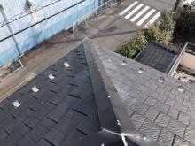台風被害による屋根の棟組み換え工事完工の様子