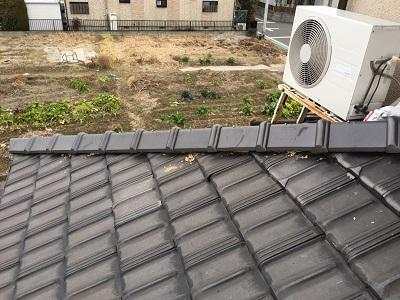 台風被害に遭われたお宅の棟の組み直し工事施工前の様子