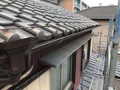 台風被害により、軒樋が飛散したお宅の完工の様子