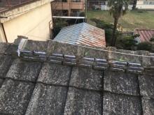 台風被害による瓦の飛散、割れの補修工事完工の様子