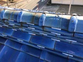 台風対策のための瓦止め工事完工の様子