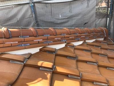 経年劣化による屋根の漆喰工事完工の様子