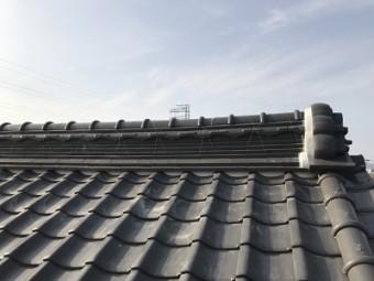 S屋根の漆喰塗り替え工事完工の様子