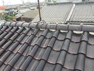 台風の被害で瓦が飛ばされたお宅の棟組み換え工事施工前の様子