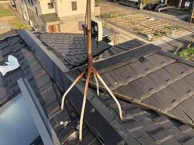 アンテナに鳥がとまりにくる屋根
