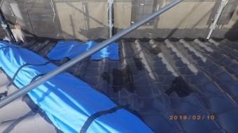 台風被害のあったお宅の屋根工事の現地調査の様子