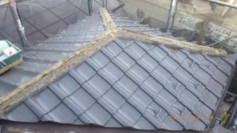 台風被害のあったお宅の南蛮漆喰施工中の様子