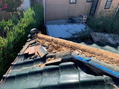 台風被害の応急処置の様子