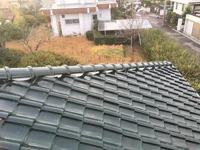 台風被害によって屋根修繕の棟の組み替え工事完工の様子