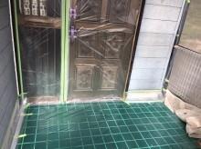 養生 玄関 外壁塗装