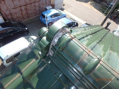 春日井市のO様宅にて瓦屋根の漆喰と棟瓦の施工を実施しました。