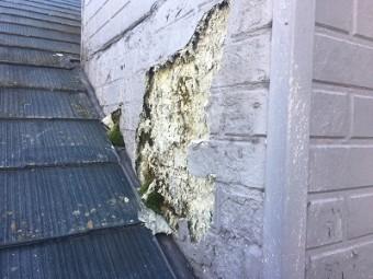 雨漏れする屋根の現地調査の様子