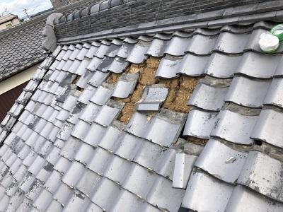 台風,被害のあったお宅の現地調査の様子