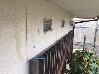 外壁の補修の様子