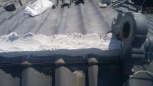 台風被害にあったお宅の屋根修繕工事施工中の様子