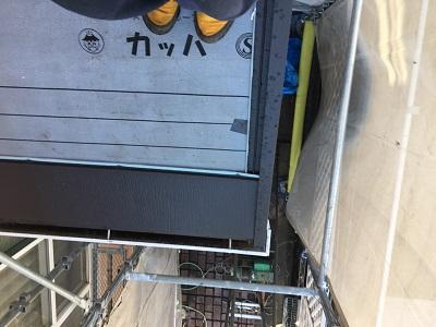 屋根修繕工事の防水シートのケラバの様子