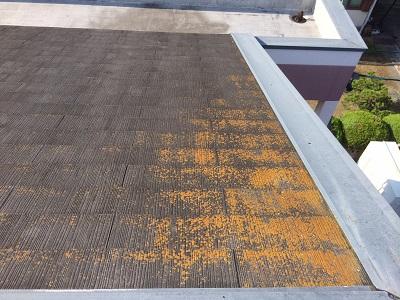 コケが付いたカラーベスト屋根